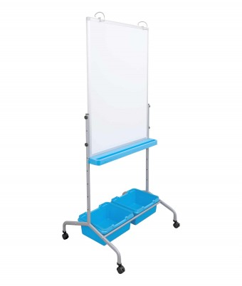 Height Adjustable Mobile Whiteboard with Storage Bins and Chart Hooks