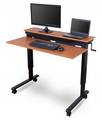 Crank Adjustable Sit to Stand Two-tier Desk with Steel Frame