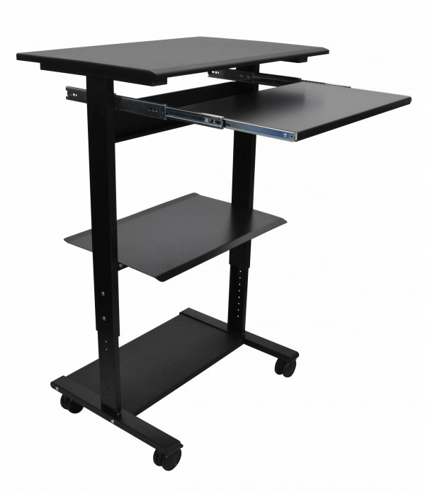 Mobile Standing Computer Workstation With Tray Stand Up