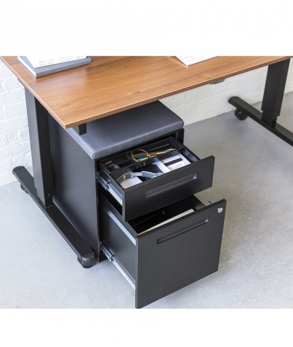 Mobile File Cabinet with Cushion Seat